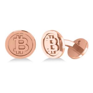 14k Rose Gold Bitcoin Cufflinks