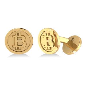 14k Yellow Gold Bitcoin Cufflinks