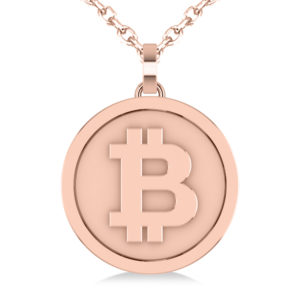 Large Rose Gold Cryptocurrency Bitcoin Pendant