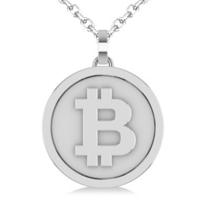 Large White Gold Bitcoin Pendant