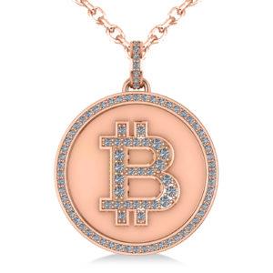 Large Rose Gold Diamond Bitcoin Pendant