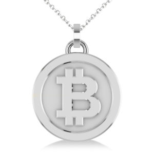 Medium Cryptocurrency Bitcoin Pendant Necklace 14k White Gold