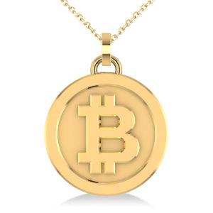 Medium Yellow Gold Bitcoin Pendant Necklace