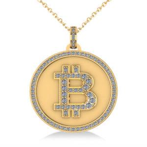 Small Bitcoin Gold Diamond Pendant Necklace