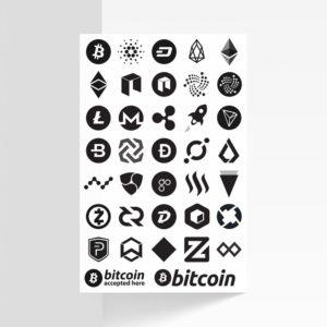 Temporary Cryptocurrency Logo Tattoos - Black